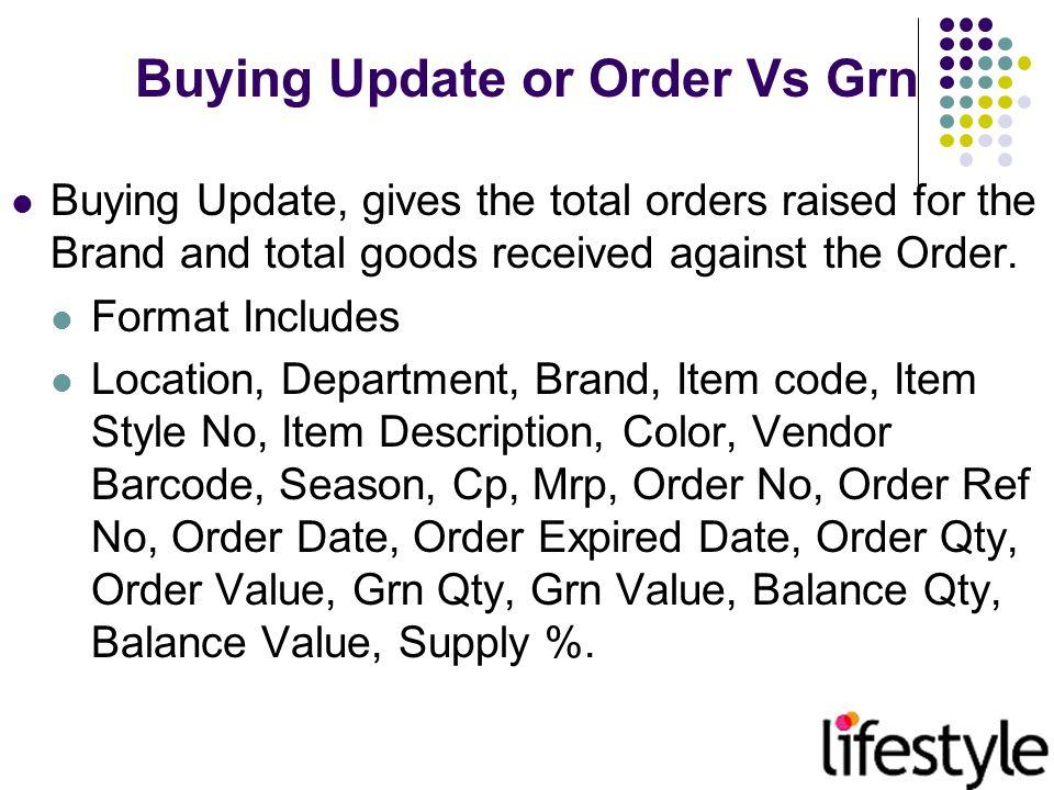 Buying Update / Order Vs.