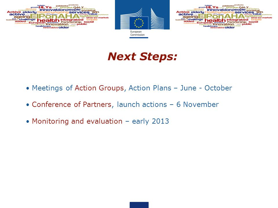 Next Steps: Meetings of Action Groups, Action Plans – June - October Conference of Partners, launch actions – 6 November Monitoring and evaluation – early 2013