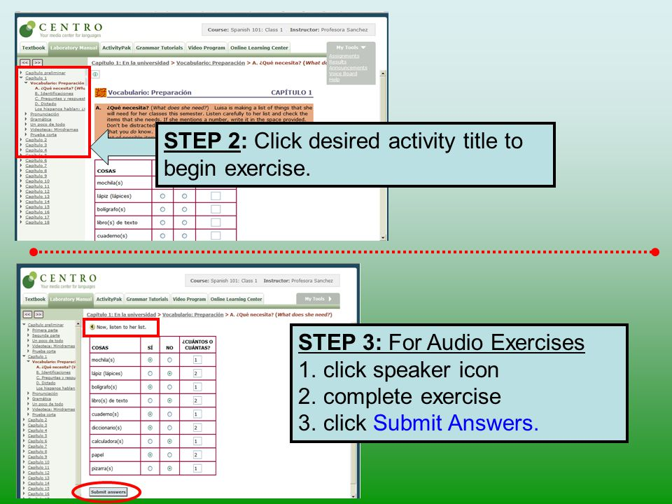 STEP 2: Click desired activity title to begin exercise.