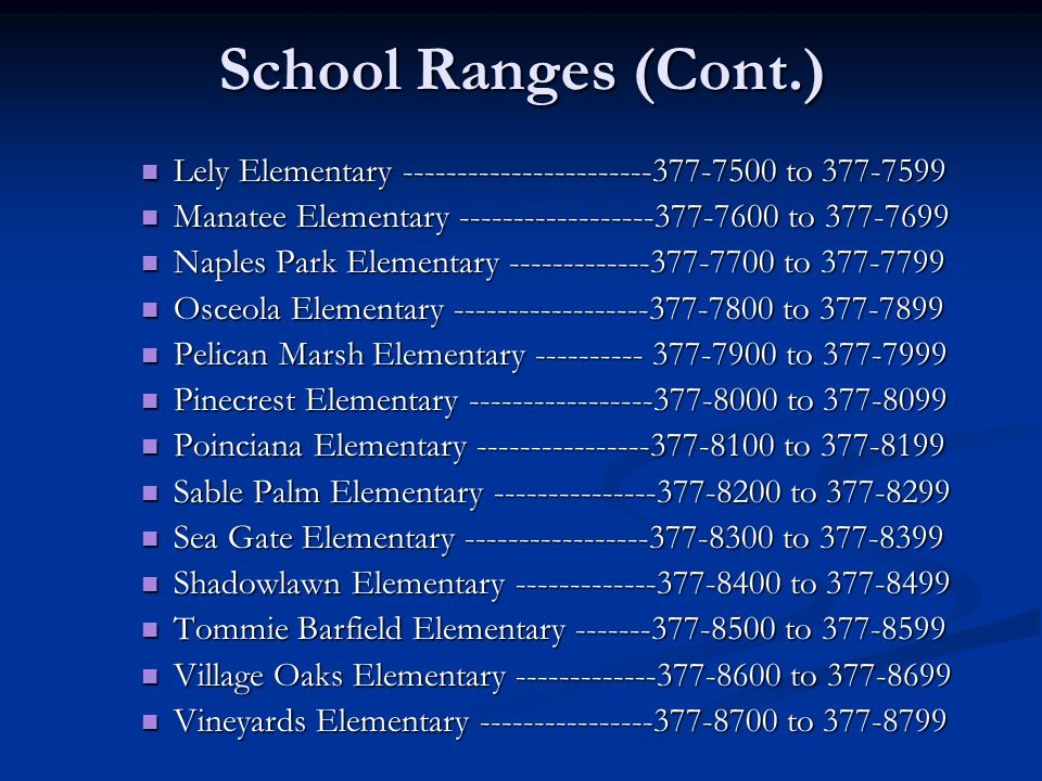 School Ranges (Cont.) Lely Elementary -----------------------377-7500 to 377-7599 Lely Elementary -----------------------377-7500 to 377-7599 Manatee Elementary ------------------377-7600 to 377-7699 Manatee Elementary ------------------377-7600 to 377-7699 Naples Park Elementary -------------377-7700 to 377-7799 Naples Park Elementary -------------377-7700 to 377-7799 Osceola Elementary ------------------377-7800 to 377-7899 Osceola Elementary ------------------377-7800 to 377-7899 Pelican Marsh Elementary ---------- 377-7900 to 377-7999 Pelican Marsh Elementary ---------- 377-7900 to 377-7999 Pinecrest Elementary -----------------377-8000 to 377-8099 Pinecrest Elementary -----------------377-8000 to 377-8099 Poinciana Elementary ----------------377-8100 to 377-8199 Poinciana Elementary ----------------377-8100 to 377-8199 Sable Palm Elementary ---------------377-8200 to 377-8299 Sable Palm Elementary ---------------377-8200 to 377-8299 Sea Gate Elementary -----------------377-8300 to 377-8399 Sea Gate Elementary -----------------377-8300 to 377-8399 Shadowlawn Elementary -------------377-8400 to 377-8499 Shadowlawn Elementary -------------377-8400 to 377-8499 Tommie Barfield Elementary -------377-8500 to 377-8599 Tommie Barfield Elementary -------377-8500 to 377-8599 Village Oaks Elementary -------------377-8600 to 377-8699 Village Oaks Elementary -------------377-8600 to 377-8699 Vineyards Elementary ----------------377-8700 to 377-8799 Vineyards Elementary ----------------377-8700 to 377-8799