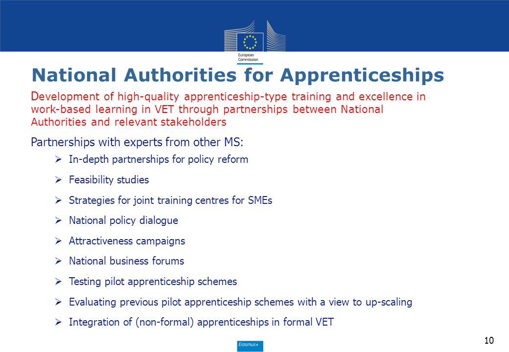 National Authorities for Apprenticeships 10 D evelopment of high-quality apprenticeship-type training and excellence in work-based learning in VET thr