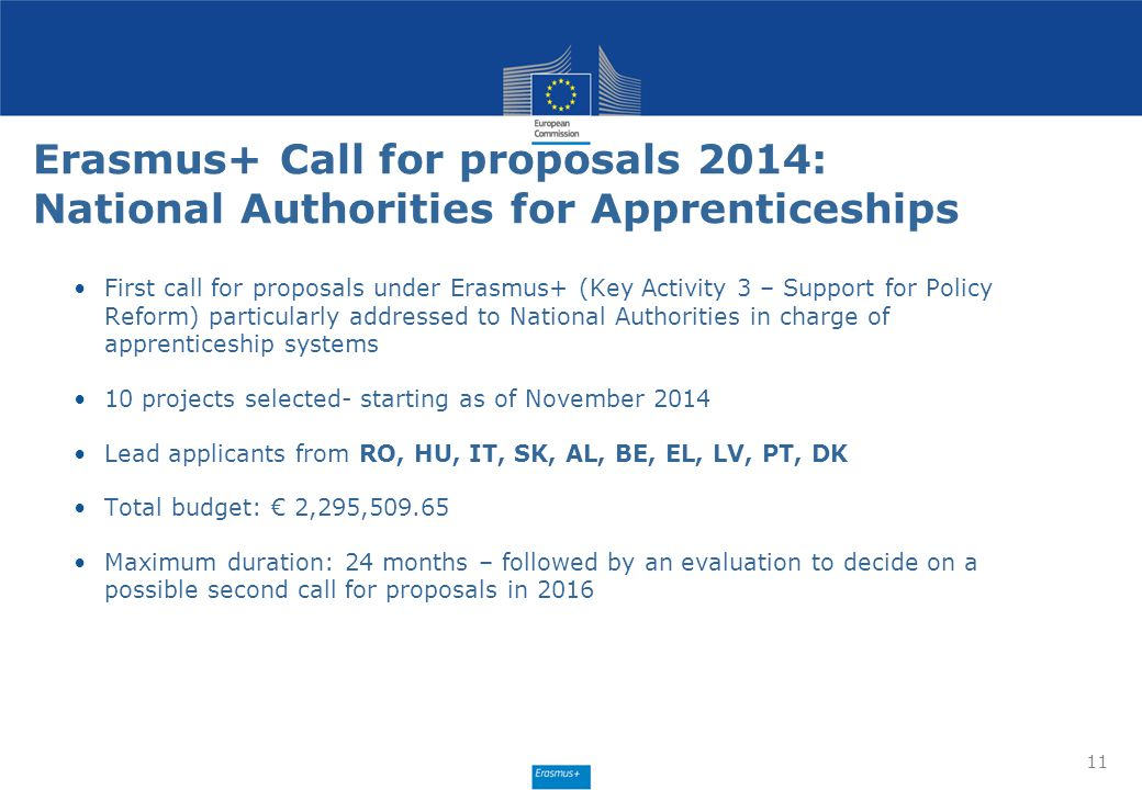 Erasmus+ Call for proposals 2014: National Authorities for Apprenticeships 11 First call for proposals under Erasmus+ (Key Activity 3 – Support for Po