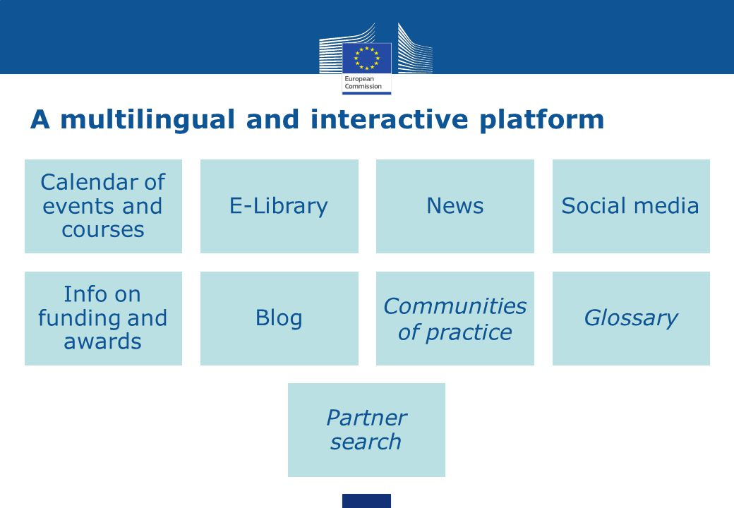 A multilingual and interactive platform Calendar of events and courses E-LibraryNewsSocial media Info on funding and awards Blog Communities of practi