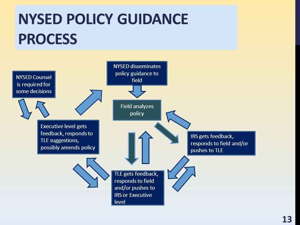 NYSED POLICY GUIDANCE PROCESS NYSED disseminates policy guidance to field Field analyzes policy IRS gets feedback, responds to field and/or pushes to TLE TLE gets feedback, responds to field and/or pushes to IRS or Executive level Executive level gets feedback, responds to TLE suggestions, possibly amends policy NYSED Counsel is required for some decisions 13