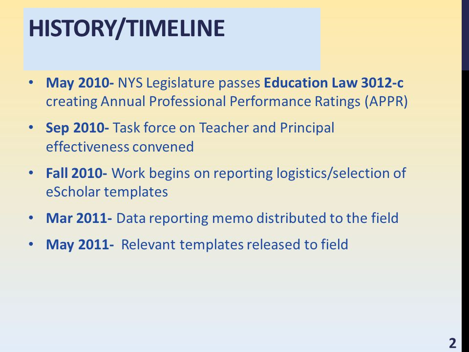 HISTORY/TIMELINE May 2010- NYS Legislature passes Education Law 3012-c creating Annual Professional Performance Ratings (APPR) Sep 2010- Task force on Teacher and Principal effectiveness convened Fall 2010- Work begins on reporting logistics/selection of eScholar templates Mar 2011- Data reporting memo distributed to the field May 2011- Relevant templates released to field 2