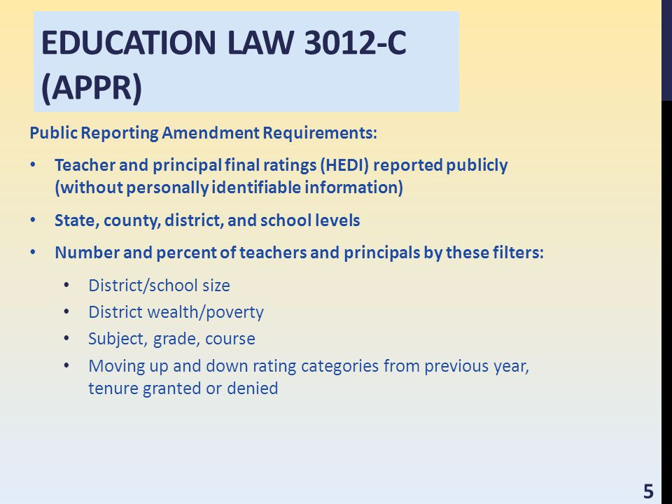 EDUCATION LAW 3012-C (APPR) Public Reporting Amendment Requirements: Teacher and principal final ratings (HEDI) reported publicly (without personally identifiable information) State, county, district, and school levels Number and percent of teachers and principals by these filters: District/school size District wealth/poverty Subject, grade, course Moving up and down rating categories from previous year, tenure granted or denied 5