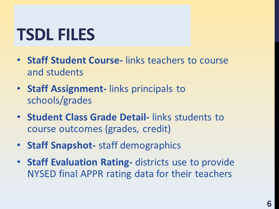 TSDL FILES Staff Student Course- links teachers to course and students Staff Assignment- links principals to schools/grades Student Class Grade Detail- links students to course outcomes (grades, credit) Staff Snapshot- staff demographics Staff Evaluation Rating- districts use to provide NYSED final APPR rating data for their teachers 6