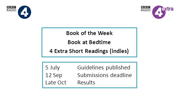 Book of the Week Book at Bedtime 4 Extra Short Readings (indies) 5 JulyGuidelines published 12 SepSubmissions deadline Late OctResults