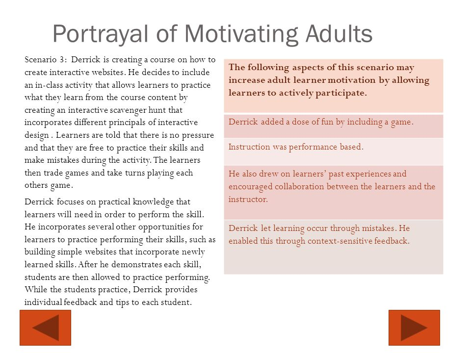 Portrayal of Motivating Adults Scenario 3: Derrick is creating a course on how to create interactive websites.