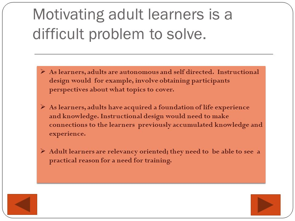Two solutions for motivating learners