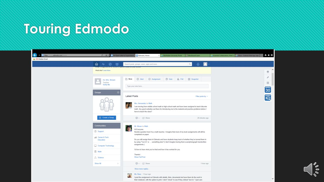 Now, Why Edmodo?  Accessible to everyone (IOS, Androids, PC's)  Easy to learn  Safe for children (Free of adverstisement  Multiple platforms (Disc