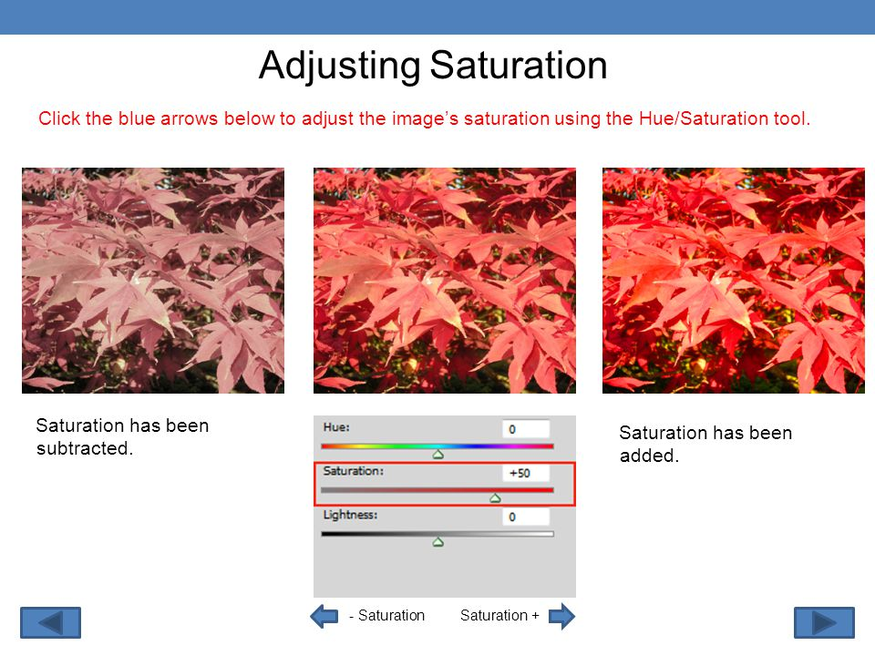 - Saturation Adjusting Saturation Saturation + Click the blue arrows below to adjust the image's saturation using the Hue/Saturation tool.