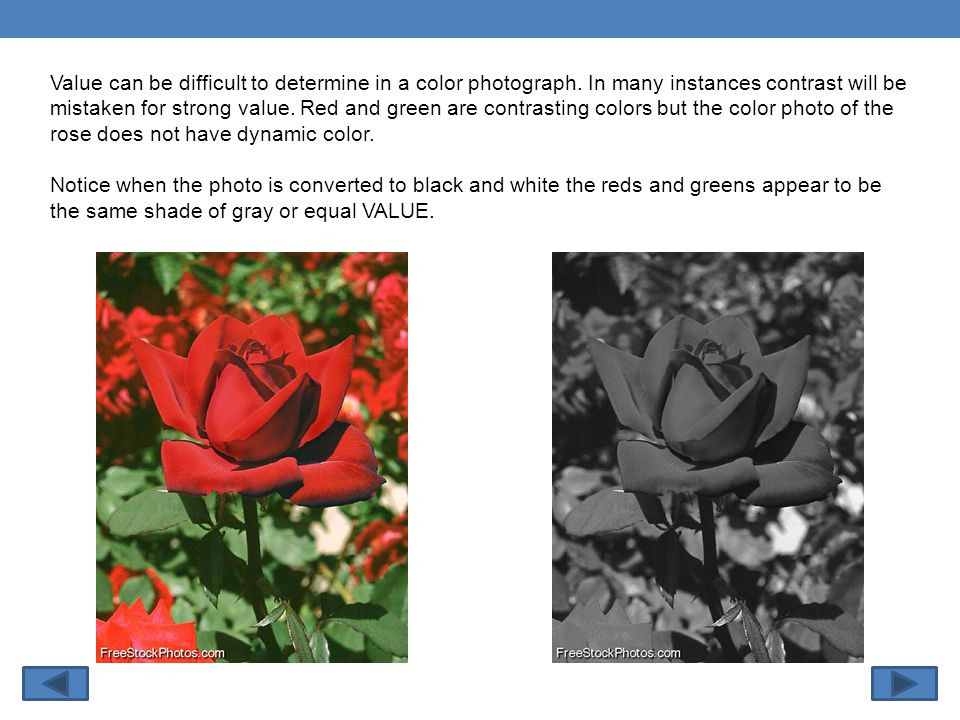 Value can be difficult to determine in a color photograph.