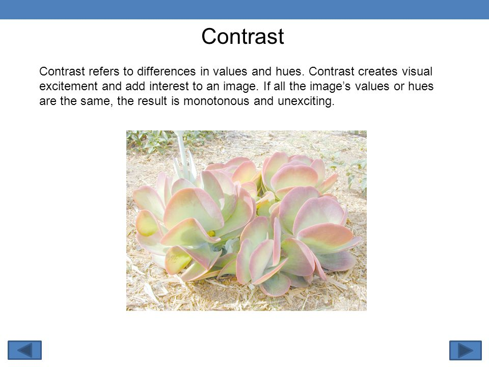 Contrast refers to differences in values and hues.