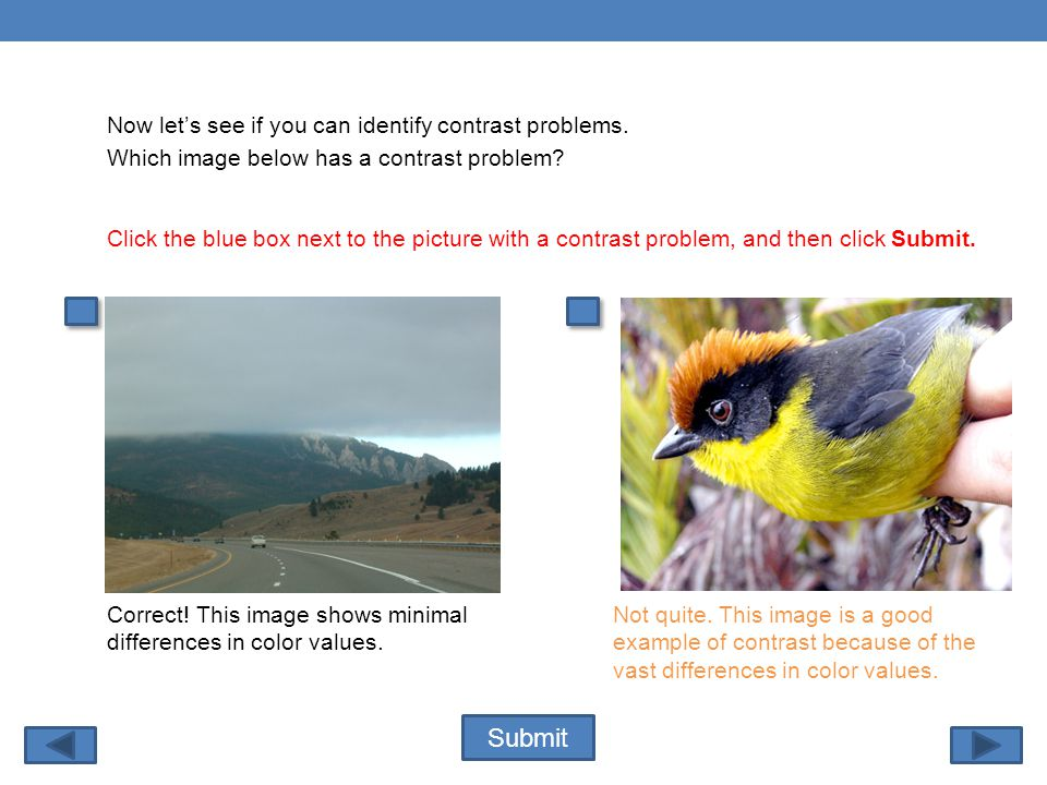 Submit Click the blue box next to the picture with a contrast problem, and then click Submit.
