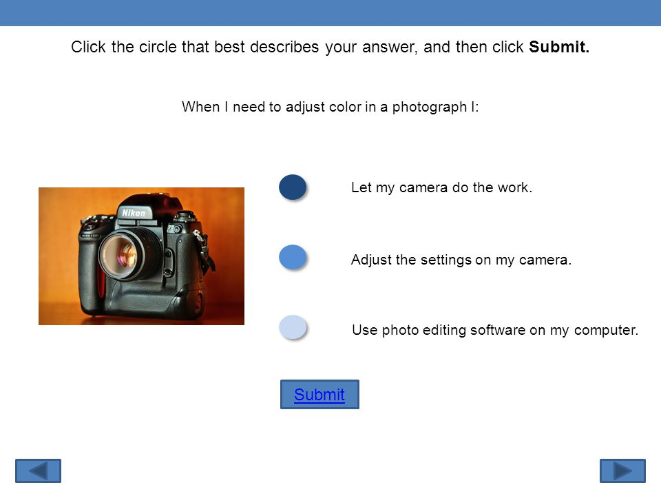 Click the circle that best describes your answer, and then click Submit.