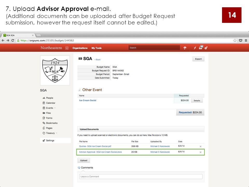 7.Upload Advisor Approval e-mail.