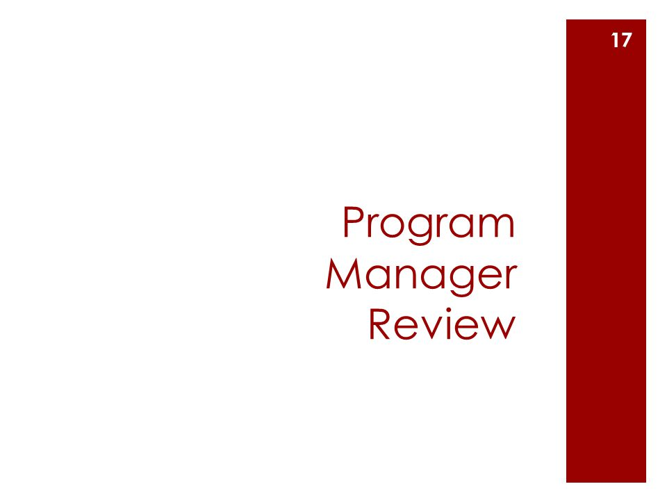Program Manager Review 17