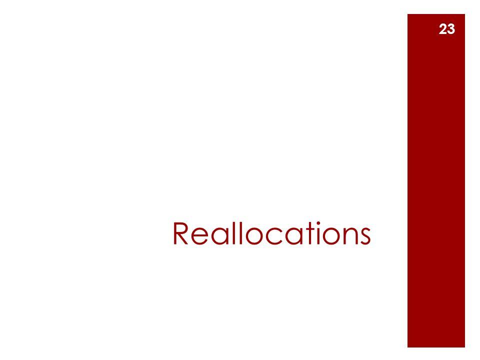 Reallocations 23