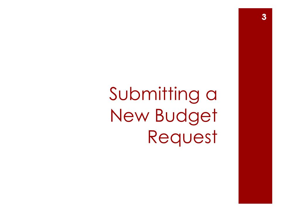 Submitting a New Budget Request 3