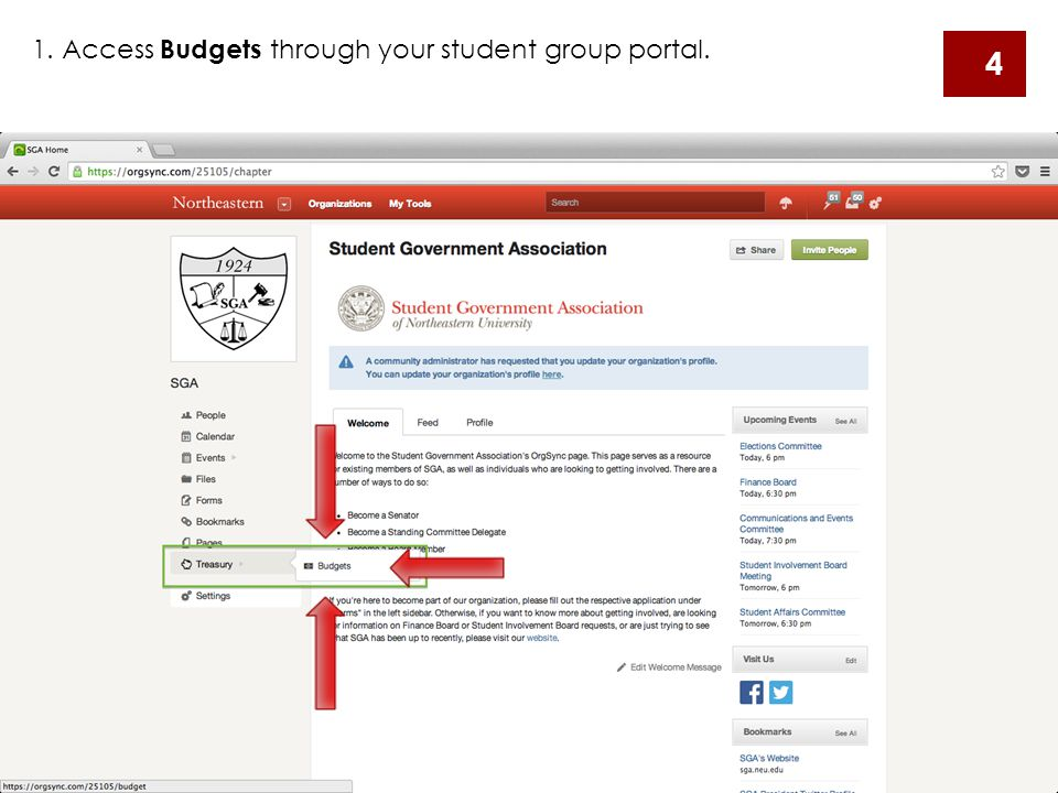 1. Access Budgets through your student group portal. 4