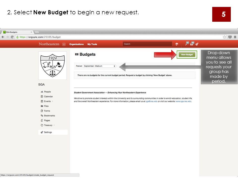 2.Select New Budget to begin a new request.