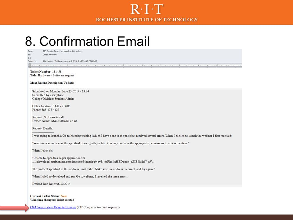 8. Confirmation Email