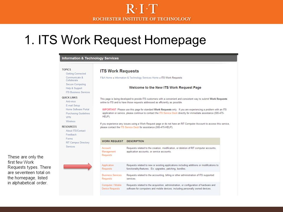 1. ITS Work Request Homepage These are only the first few Work Requests types.