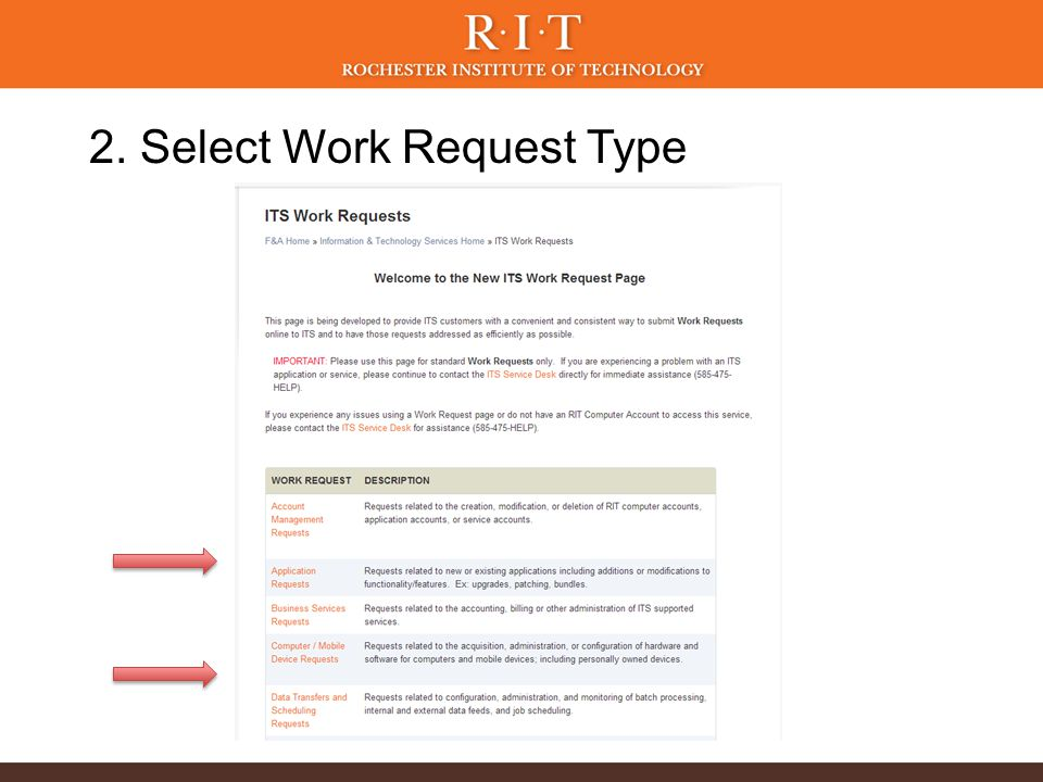 2. Select Work Request Type