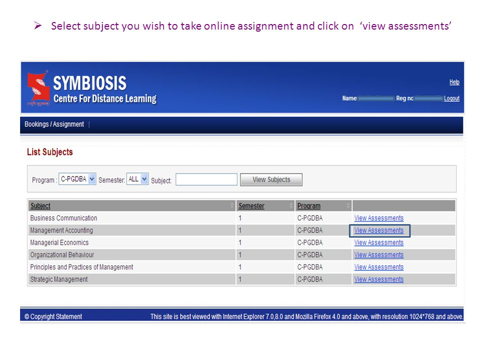  Select subject you wish to take online assignment and click on 'view assessments'