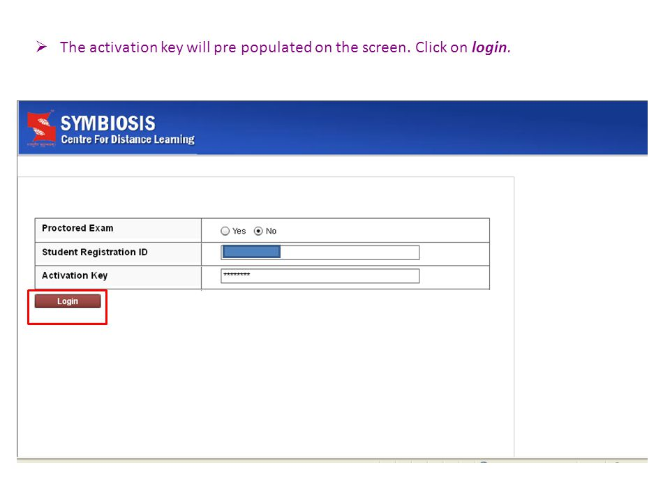  The activation key will pre populated on the screen. Click on login.