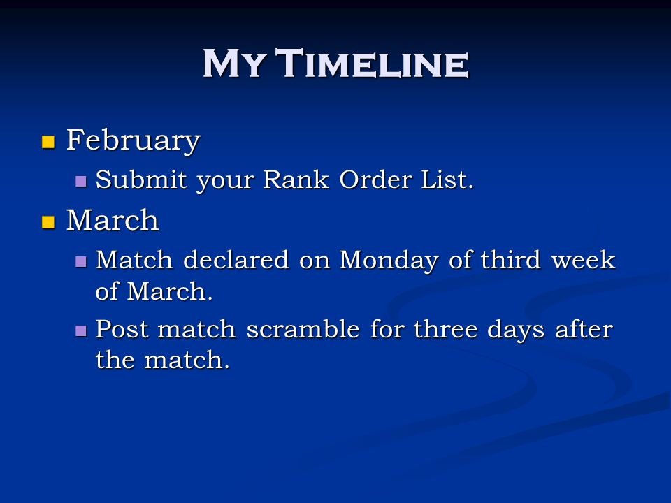 My Timeline February February Submit your Rank Order List. Submit your Rank Order List. March March Match declared on Monday of third week of March. M