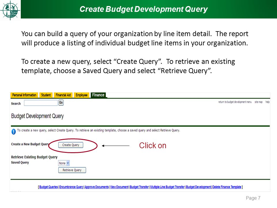 You can build a query of your organization by line item detail. The report will produce a listing of individual budget line items in your organization
