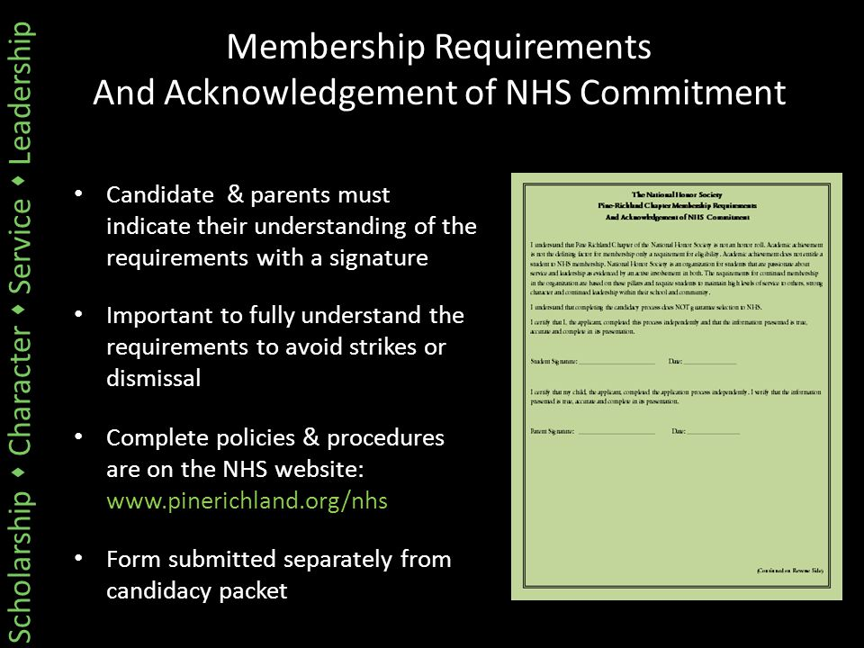 Scholarship  Character  Service  Leadership Membership Requirements And Acknowledgement of NHS Commitment Candidate & parents must indicate their u