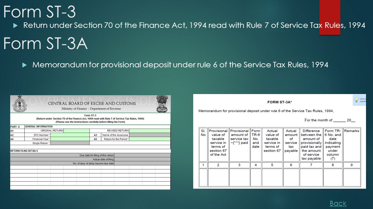 Form ST-3  Return under Section 70 of the Finance Act, 1994 read with Rule 7 of Service Tax Rules, 1994 Form ST-3A  Memorandum for provisional deposit under rule 6 of the Service Tax Rules, 1994 Back