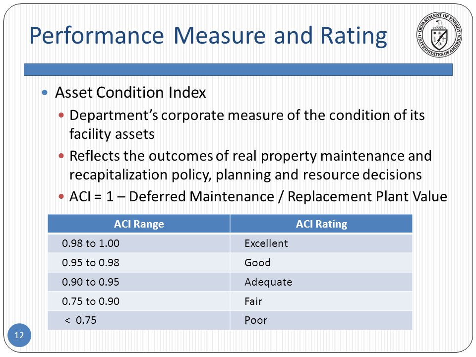 Performance Measure and Rating 12 Asset Condition Index Department's corporate measure of the condition of its facility assets Reflects the outcomes of real property maintenance and recapitalization policy, planning and resource decisions ACI = 1 – Deferred Maintenance / Replacement Plant Value ACI RangeACI Rating 0.98 to 1.00Excellent 0.95 to 0.98Good 0.90 to 0.95Adequate 0.75 to 0.90Fair < 0.75Poor