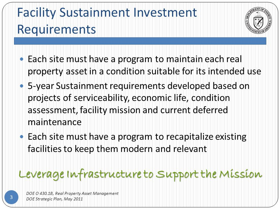 Benchmark M&R Program Funding 14 Plan 2% to 4% for a portfolio in adequate condition* Plan additional funding of 1% to 2% of RPV when ACI is below 0.95 For Example: *National Academies of Sciences' recommended annual funding level Property TypeFY10 RPVFY 10 DM Buildings $1,227,475,270$49,206,743 OSFs $548,338,514$34,077,337 Trailers $18,692,655$1,491,970 Program Total $567,031,169$35,569,307 Minimum M&R Target Range: 2% $11,340,623 Minimum Funding Target Range Minimum M&R Target Range: 4% $22,681,247 ACI93.73% < 0.95; DM Program Required