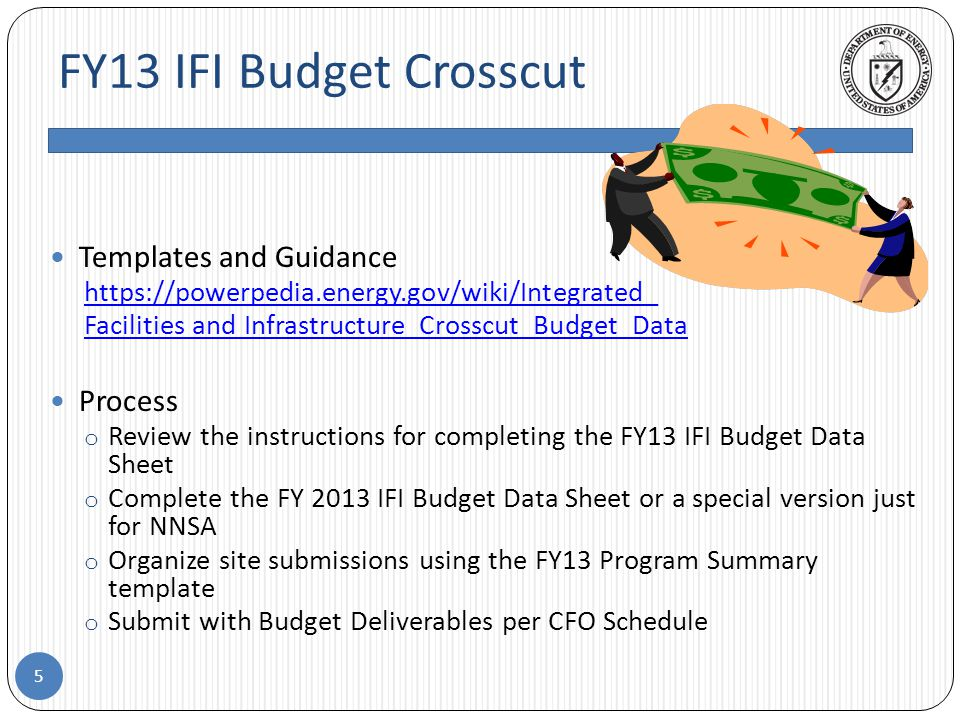 FY13 IFI Budget Crosscut 5 Templates and Guidance https://powerpedia.energy.gov/wiki/Integrated_ Facilities and Infrastructure_Crosscut_Budget_Data Process o Review the instructions for completing the FY13 IFI Budget Data Sheet o Complete the FY 2013 IFI Budget Data Sheet or a special version just for NNSA o Organize site submissions using the FY13 Program Summary template o Submit with Budget Deliverables per CFO Schedule
