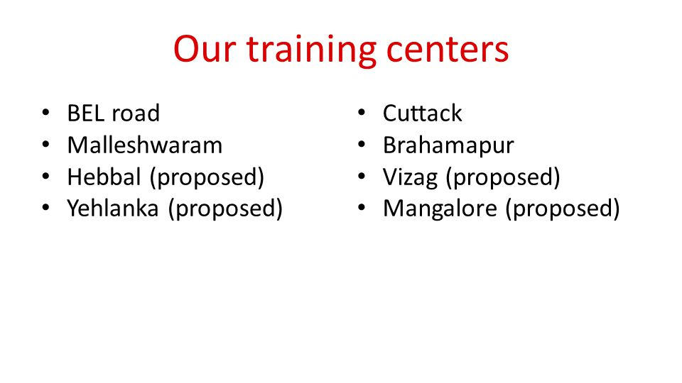 Our training centers BEL road Malleshwaram Hebbal (proposed) Yehlanka (proposed) Cuttack Brahamapur Vizag (proposed) Mangalore (proposed)