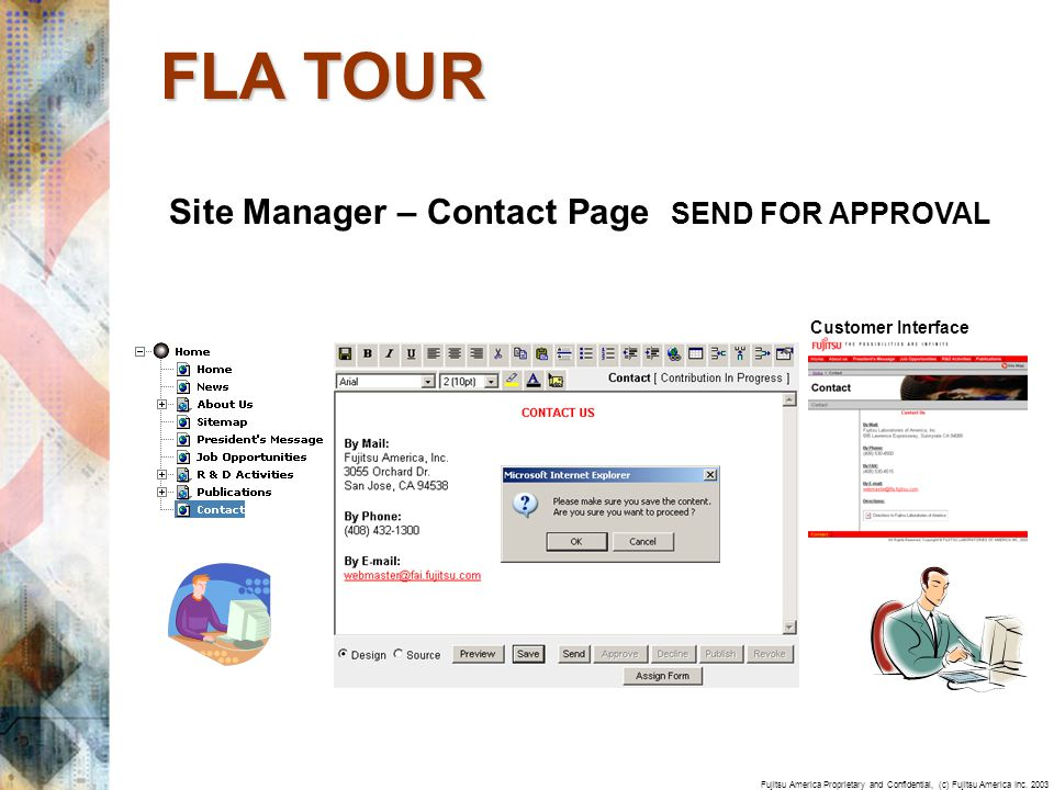 Fujitsu America Proprietary and Confidential, (c) Fujitsu America Inc. 2003 Site Manager – Contact Page SEND FOR APPROVAL FLA TOUR Customer Interface