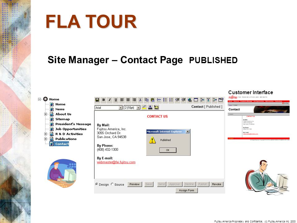 Fujitsu America Proprietary and Confidential, (c) Fujitsu America Inc. 2003 Site Manager – Contact Page PUBLISHED FLA TOUR Customer Interface