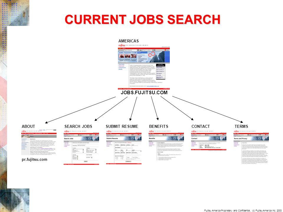 Fujitsu America Proprietary and Confidential, (c) Fujitsu America Inc. 2003 CURRENT JOBS SEARCH SEARCH JOBS AMERICAS ABOUT pr.fujitsu.com SUBMIT RESUM