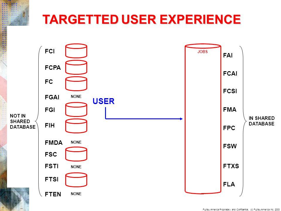 Fujitsu America Proprietary and Confidential, (c) Fujitsu America Inc. 2003 TARGETTED USER EXPERIENCE USER FC FIH FSC FTSI FTEN FGAI FGI FCI FMDA FSTI