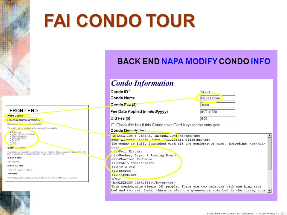 Fujitsu America Proprietary and Confidential, (c) Fujitsu America Inc. 2003 BACK END NAPA MODIFY CONDO INFO FRONT END FAI CONDO TOUR