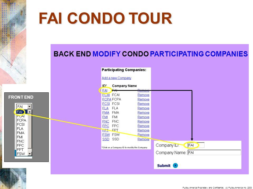 Fujitsu America Proprietary and Confidential, (c) Fujitsu America Inc. 2003 BACK END MODIFY CONDO PARTICIPATING COMPANIES FRONT END FAI CONDO TOUR