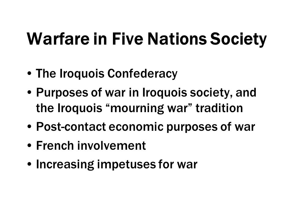 The Iroquois Wars Early conflicts (1641-1647) Attacks on Huron villages (1647-1649) Dispersal of Huronia (1649) Dispersal of the Petun (1650), Neutral (1651)