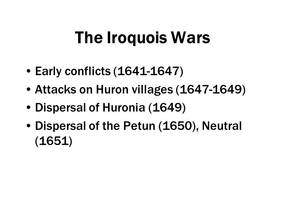 Post-Contact Factors in Warfare Existing conflicts European involvement in existing conflicts Traditional understandings/purposes of warfare Trade Firearms Disease Christianity and religious factionalism