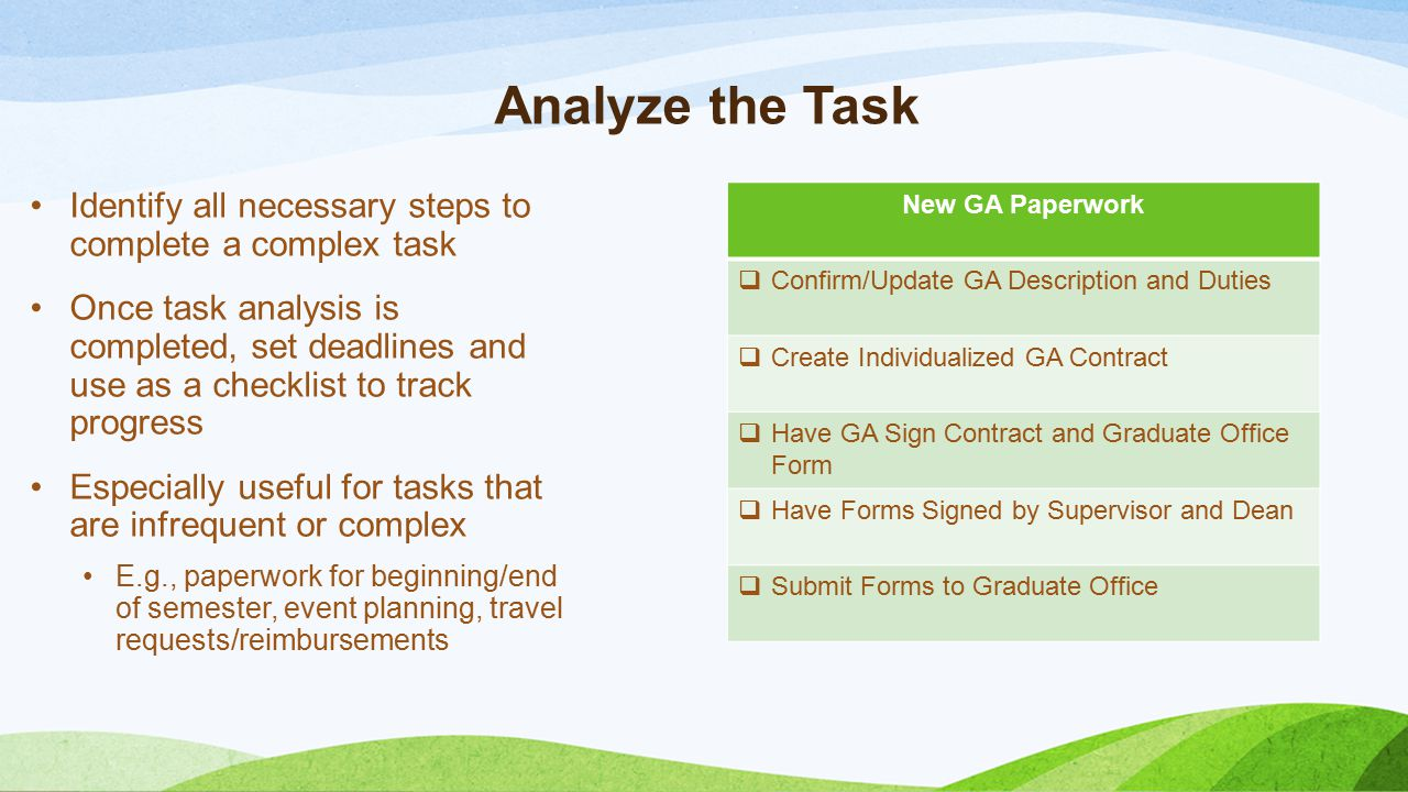 Analyze the Task Identify all necessary steps to complete a complex task Once task analysis is completed, set deadlines and use as a checklist to trac