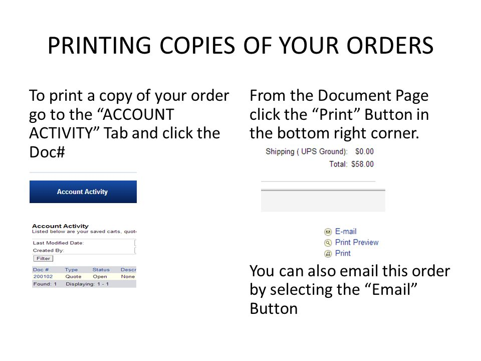 PRINTING COPIES OF YOUR ORDERS To print a copy of your order go to the ACCOUNT ACTIVITY Tab and click the Doc# From the Document Page click the Print Button in the bottom right corner.
