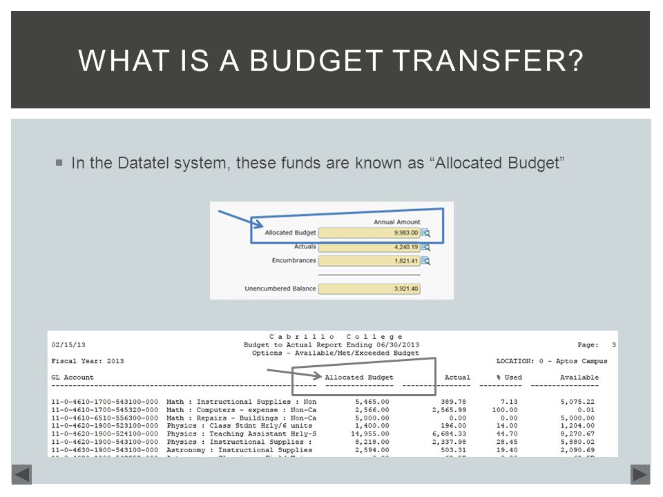  In the Datatel system, these funds are known as Allocated Budget WHAT IS A BUDGET TRANSFER